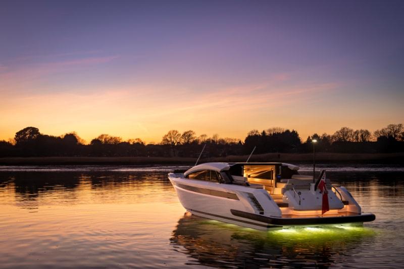 underwater lights on a luxury motor yacht