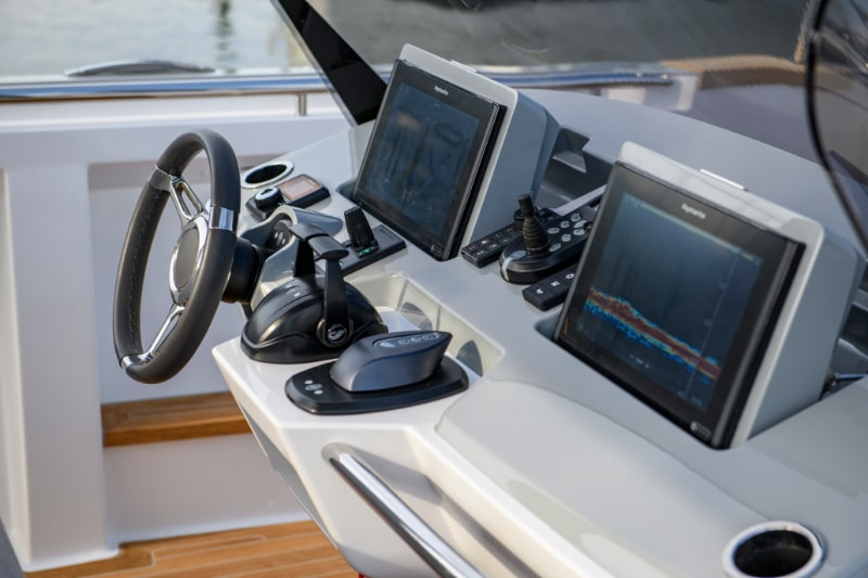 helm console of a custom superyacht tender