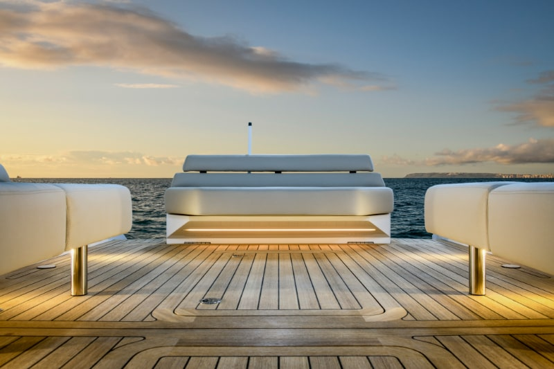 aft deck on a compass tenders boat