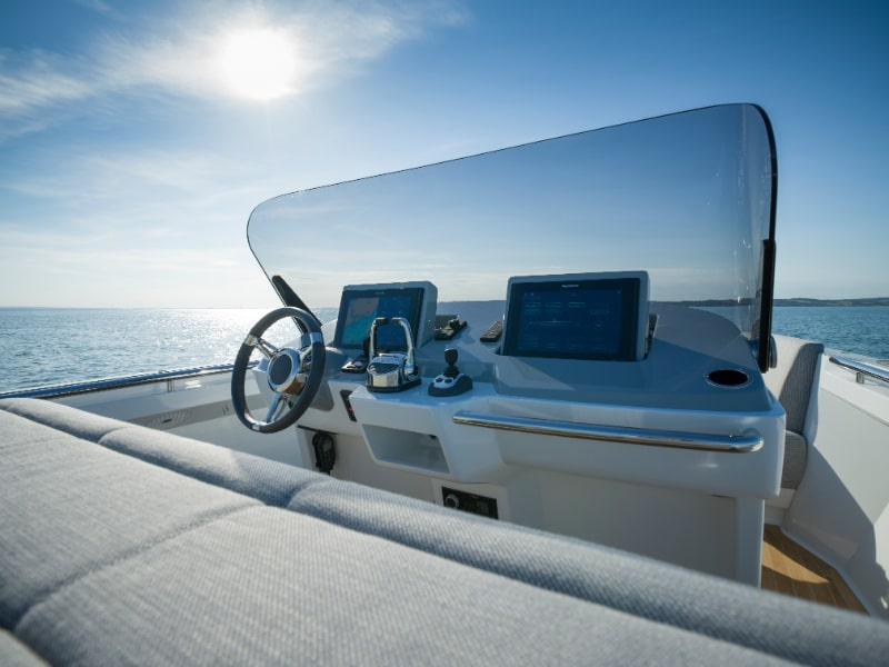 helm console of a luxury tender