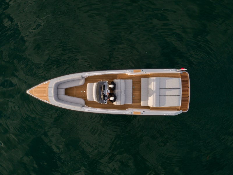 aerial shot of a luxury chaseboat