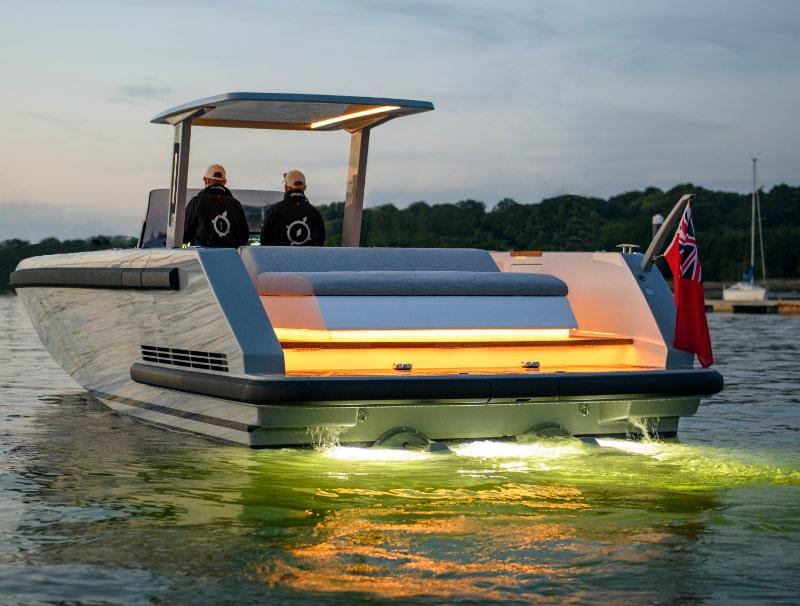 underwater lights on a custom tender